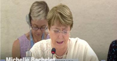 Michelle Bachelet en su intervención sobre el caso de Venezuela.