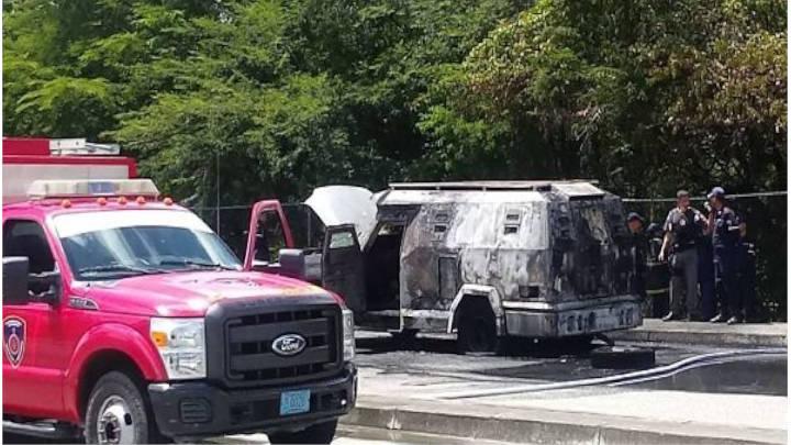 Vehículo de transporte de valores se incendió en Guárico