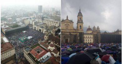 La marcha que convocaron los distintos sectores del país en la plaza Bolívar de Bogotá