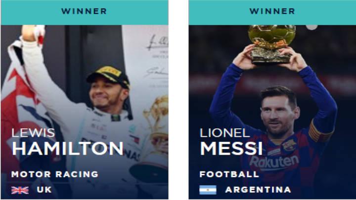 Hamilton y Messi empatan en primer lugar de los premios Laureus 2020