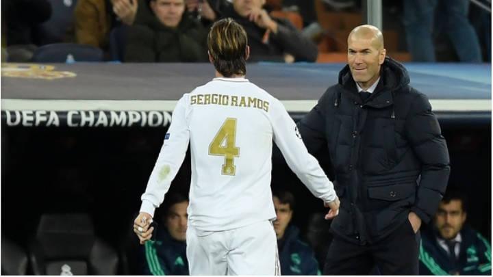 Ramos y Zidane luego de la tarjeta roja