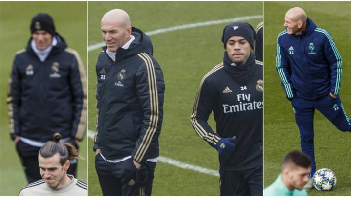 Zidane en practica con Mariano, Jovic y Bale