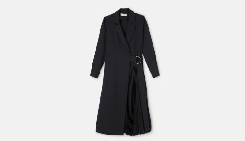 Vestido estilo blazer, incluye plisados