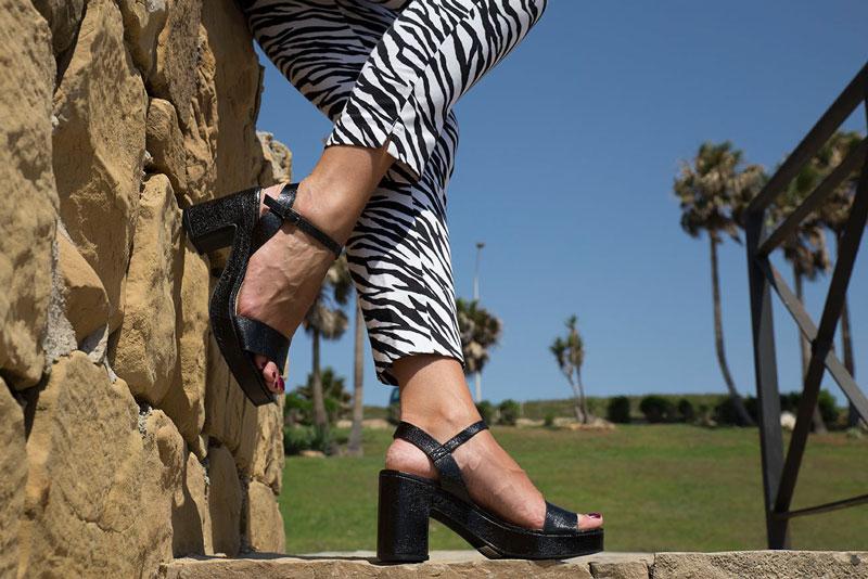 sandalias negras tacon para mujer